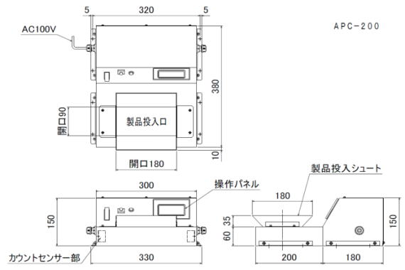 標準C-BOXエリアカウンター APC-200の寸法